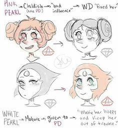 I really like how this one actually changes how pink pearl looked instead of just recoloring her Steven Universe Jasper, Steven Universe Theories, Perla Steven Universe, Steven Universe Comic, Universe Art, White Diamond Steven Universe, Steven Universe Drawing, Pearl Steven, Steven Univese