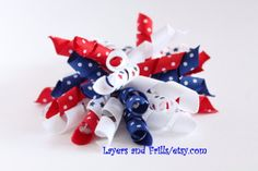 Fourth of July korker hair bow red white and by LayersandFrills, $5.00