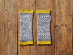 Grey & Yellow Trim Fingerless Mittens