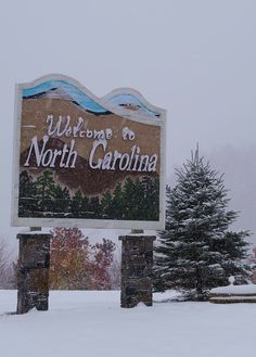 A snowfall near Asheville, NC, in Madison County along I-26 scenic drive