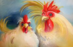 """Amy Hautman Paintings: """"We're Golden"""", Chicken Pair, Oil Painting"""