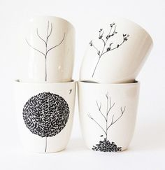 cute cute cute :: trees & leaves :: four seasons cup set by [bailey doesn't bark]