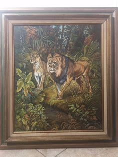 "Hazel Brooks 1987 Original Oil Painting Lion King Motive, 19"" x 23 1/2"" (Image) #Realism"