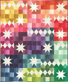 Fun quilt of with the modern ombre' bloom fabric. You will love this Ombre' Bloom quilt kit by V and Co. for Moda fabrics. It a great ombre' fabric with a white bloom . What fun it will be to make this quilt. Quilt size x Hippie Shirt, Star Quilts, Quilt Blocks, Scrappy Quilts, Bed Quilts, Star Blocks, Jellyroll Quilts, Colchas Quilting, Quilting Ideas