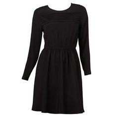 black pleat dress