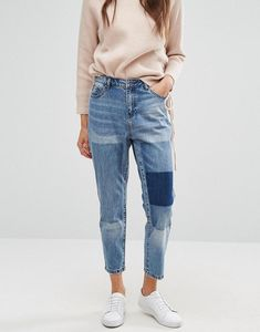 Tonni Boyfriend Jean with Patch Detail