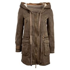 Crafted Acid Wash Parka Jacket ($13) ❤ liked on Polyvore featuring outerwear, jackets, coats, coats & jackets, tops, womens jackets, brown parka, brown jacket, brown parka jacket and parka jacket