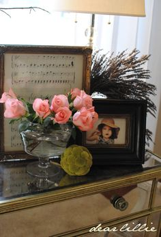 framed sheet music in vintage frames. Cool deco project for the huge blank wall above/around piano. Decor, Home Improvement, Sheet Music Decor, Framed Sheet Music, House Styles, Home Decor, Vintage Frames, Dear Lillie, Frame