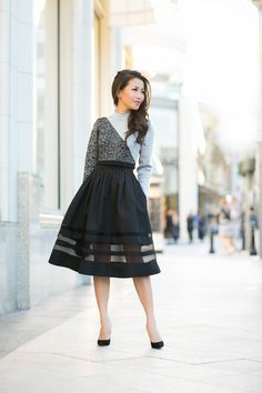 Sheer Bliss :: Faille skirt & Cropped sweater - Wendys Lookbook