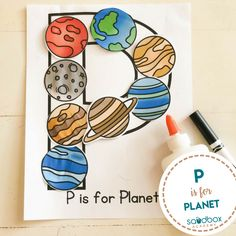 P is for Planet -Letter Activity Letter P Activities, Preschool Letter Crafts, Space Theme Preschool, Alphabet Letter Crafts, Kindergarten Crafts, Daycare Crafts, Toddler Activities, Preschool Activities, Letter Art