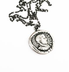 Silver Coin Charm Necklace Vintage Style Coin Jewelry Pendant Rhodium Chain Layering Free USA Shipping - pinned by pin4etsy.com