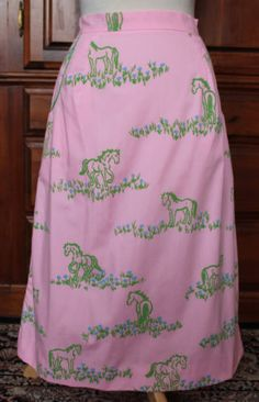 Vintage 70s The Vested Gentress Pink Green Horses Flowers Midi Skirt A-Line #VestedGentress