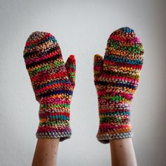 Multicolored Winter Mittens / Colour Mixes Crochet by RUKAMIshop