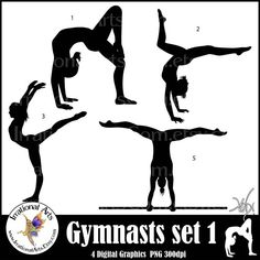 This set is available for INSTANT DOWNLOAD!!!    This is set 1 and set 2 of my gymnasts. I decided to combine these sets since there were only 4