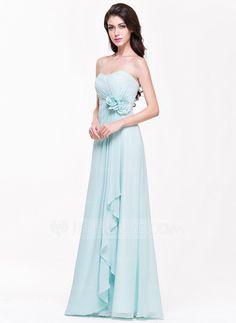 a8b0b64df847c A-Line/Princess Sweetheart Floor-Length Chiffon Bridesmaid Dress With  Flower(s) Cascading Ruffles