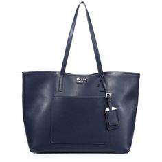 Prada City Leather Tote (4.375 BRL) ❤ liked on Polyvore featuring bags, handbags, tote bags, totes, navy, leather purses, leather hand bags, navy blue leather handbags, leather tote bags and leather handbags