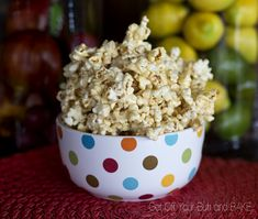 Marshmallow-caramel popcorn    1/2 c. brown sugar  1/2 c. butter   9-10 large marshmallows   12 c. popcorn.  Microwave brown sugar and butter for 2 minutes. Add marshmallows. Microwave until melted, 1 1/2 to 2 minutes. Pour over popcorn.