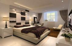 schlafzimmergestaltung modernes design hochflorteppich eingebaute deckenleuchten