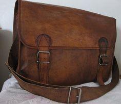 Leather Handbags Satchel Bag Messenger Men Retro Fashion