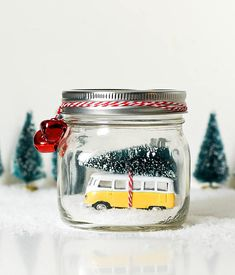 Car in Jar Snow Globe Yellow Vintage VW Bus in Mason Jar