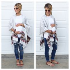 Aztec wrap, distressed rolled denim, sandals, leather earrings. Perfect maternity outfit.