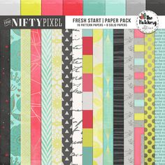 FRESH START | Paper Pack This bright and bold pack of papers include some fun lovin' spring themed motifs. Some of the designs includes a mish mash of modern patterns, retro inspired motifs, florals and geometics for some added flair!  DOWNLOAD INCLUDES:  16X Pattern Papers  8X Solid Coordinating Papers All products are saved at 300ppi for optimum printing quality.