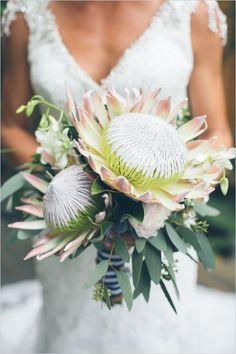 Protea bridal bouquet for an epic Hawaiian wedding. Protea Bouquet, Protea Flower, Bouquet Bride, Flower Bouquet Wedding, Beach Wedding Reception, Hawaii Wedding, Protea Wedding, Wedding Bouquets, Dream Wedding