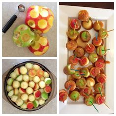 Mini Apple Bites:  Don't have to use a melon baller, could just cut them up into cubes with less waste :) Harvest Party Fun