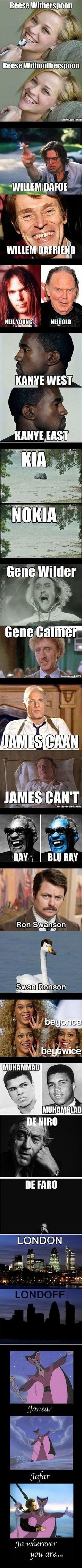 Funny celebrity pun photo strip