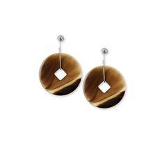 hermes 'tsuba' earrings in buffalo horn and silver