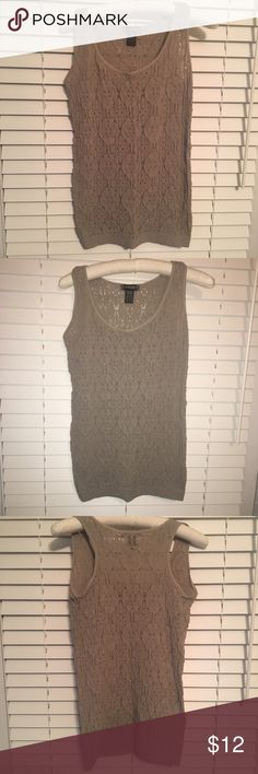 🚨SALE!🚨 Stretchy Beige Lace Top! ‼️LIMITED TIME‼️ All Items in My Closet: Buy 2, Get 1 FREE! Super soft and comfy lace tank top! No size listed on the tag, but because it stretches is say it could fit a small to a large. Obviously it'd fit tighter on a large and looser on a size small. Bundles and reasonable offers are welcome! c'est moi Tops