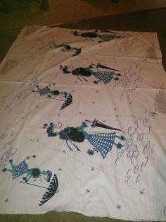 vintage poodle novelty border print circle skirt pattern fabric atomic kitsch #VintagePoodle #50sSkirt