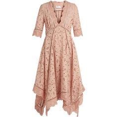 Zimmermann Mariso broderie-anglaise dress ($648) ❤ liked on Polyvore featuring dresses, light pink, scalloped hem dress, deep v neckline dress, genuine leather dress, scallop trim dress and deep v neck dress
