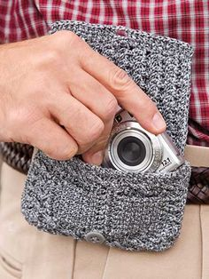 Camera Belt Bag Crochet Pattern Download from e-PatternsCentral.com -- Keep your point-and-click digital camera conveniently and comfortably within reach, secured in this tidy case that fits right on your belt.