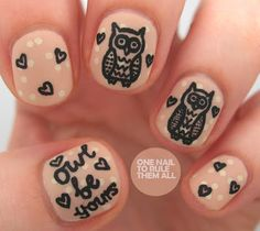 One Nail To Rule Them All - owl love! #nailart