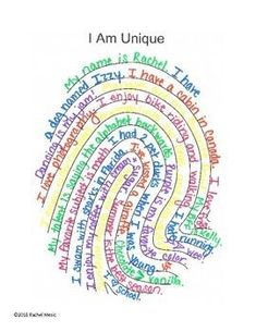 Fingerprint - I Am Unique Writing Activity - Choose 1 of the 3 fingerprint templates. (loop, whorl, arch)Students write about themselves on the - School Classroom, Art School, Back To School Art, Elementary School Counselor, Elementary Schools, School Ideas, Middle School Counseling, Back To School Crafts, School Social Work