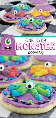 One-Eyed Monster Cookies. 3 ingredient cookies topped with colorful frosting, candy eyes, and monster gummies. Easy cookies to make for Halloween or party. Sugar Cookies Recipe, Fun Cookies, Decorated Cookies, Kid Friendly Dinner, Kid Friendly Meals, Halloween Cookies, Halloween Treats, Halloween Desserts, Halloween Baking