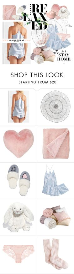 """PJs All Day: Lovely Loungewear"" by hyflucid ❤ liked on Polyvore featuring Olivia von Halle, Cyan Design, Nordstrom Rack, Victoria's Secret, Jellycat, London Pottery, La Perla, J.Crew, WALL and LovelyLoungewear"