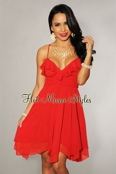 Red Ruffled Babydoll Dress $64.99
