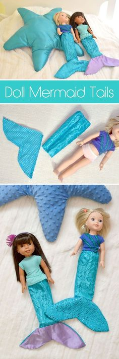 Crafts & Activities Doll mermaid tails for medium sized dolls and American Girl WellieWishers!Doll mermaid tails for medium sized dolls and American Girl WellieWishers! American Girl Outfits, American Girl Crafts, American Dolls, Sewing Dolls, Ag Dolls, Girl Dolls, Crafts For Girls, Diy For Girls, Kids Girls
