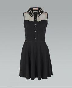 Studded, collared black skater dress.