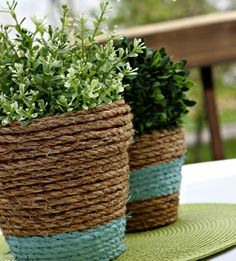 24 Seriously Creative Ways to Spruce Up a Flower Pot:  Wrap in rope.
