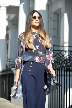 Anisa Sojka styles blossom pleated Ted Baker top and matching kimono   High waisted wide-leg trousers with gold buttons   Deep violet slip-ons with flowers   White Triwa nicki sunglasses   Ombre wavy hair style   Fashion blogger street style shot in London by David Nyanzi