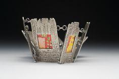 Bracelet |  Julia Rai.  Cityscape Bracelet.  Fine silver clay, photos
