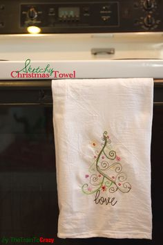 Sketchy Christmas Towel: How to embroider a tea towel using a sewing machine | Skip To My Lou