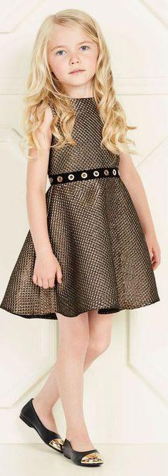 Pretty! LOREDANA Girls Gold Embossed Party Dress. #kidsfashion #girl #pretty #dress #party