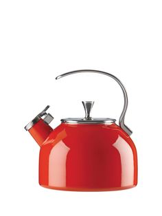 this stylish red kettle is so good-looking, you'll want to leave it atop your stove for decoration even when you're not boiling water.