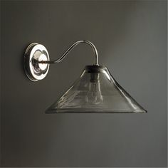 Polished Nickel Wall Light with Clear Bubbled Handblown Glass Shade