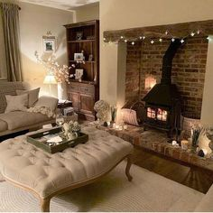 Home Renovation Living Room Home inspiration cosy living rooms 26 Ideas Country Cottage Living Room, Cottage Shabby Chic, Country Cottage Interiors, Cozy Fireplace, Living Room With Fireplace, Cozy Living Rooms, My Living Room, Small Living, Cosy Living Room Decor