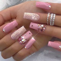 That Will Motivate You Beautiful Nails Elegant Nailart 30 - US Makeup Trends Acrylic Nail Designs, Cute Acrylic Nails, Fun Nails, Nail Art Designs, Nails Design, Design Art, Nail Designs With Gems, Christmas Acrylic Nails, Design Ideas